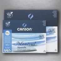 CANSON - MONTVAL  MAXI PACK CARTA PER ACQUERELLO 200 GR. 100 FOGLI